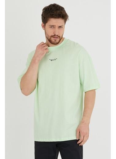 XHAN Su Yeşili Baskılı Oversize T-Shirt 1Kxe1-44633-38 Yeşil